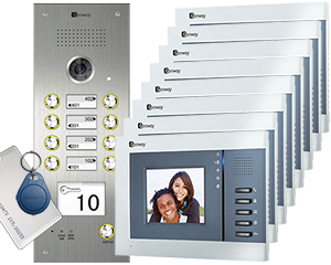 Genway Juno Card Reader 8-Flat Video Door Entry System