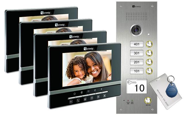 Intelligent Home 4 Apartments Video Intercom System Luna