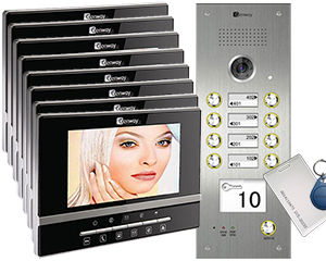 Genway Luna Card Reader 8-Flat Video Intercom System