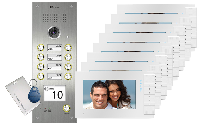 Genway Lyra White Card Reader 8-Flat Video Door Intercom