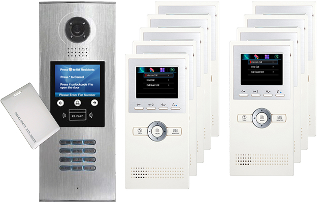 DigiOpen 9-Apartment Video Door Entry System Leda White monitors