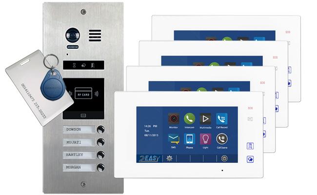 Vosper Proximity Reader 4 Apartments Video Door Entry System Aura