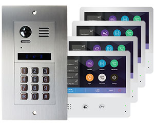 2-Easy Vulcan 4-Flat Keypad Video Door Entry System with WiFi monitors