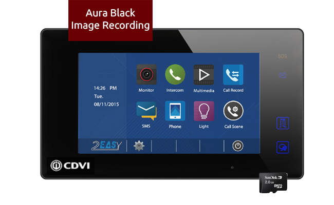 2-Easy Aura Black Video Monitor Image Recording