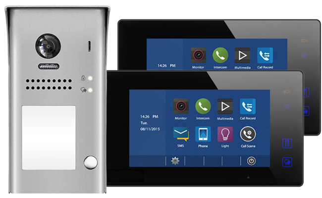 2-Easy Aura Black 2-Monitor Door Entry Kit with Surface Doorbell