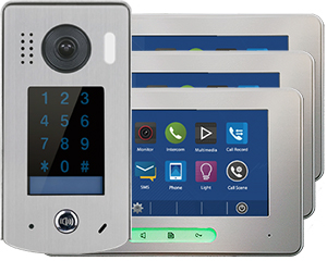 2-Easy Alecto 3-Monitor Door Entry Kit Touchscreen Keypad Doorbell