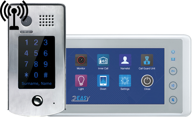 2-Easy Cronus White 1-Monitor Door Entry Kit GSM Keypad Doorbell