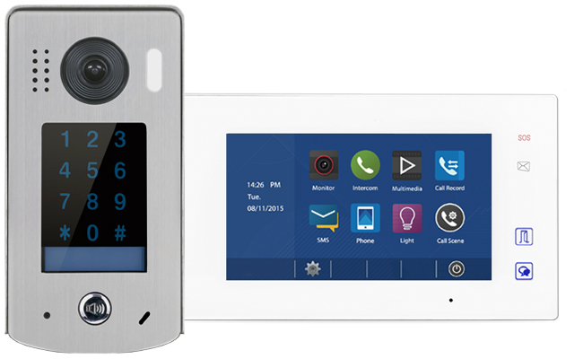 2-Easy Aura White 1-Monitor Door Entry Kit with Keypad Doorbell