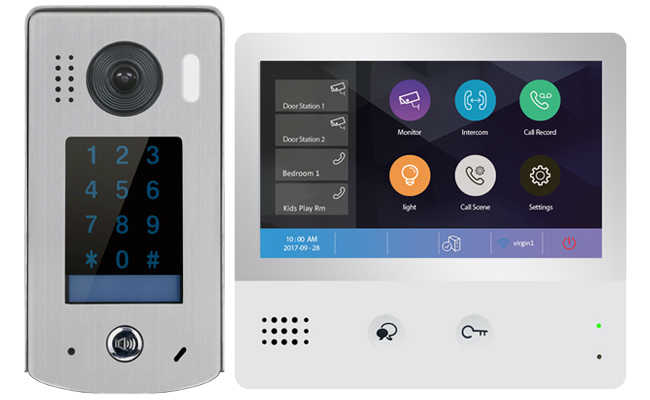 2-Easy WiFi IP 1-Monitor Door Entry Touchscreen Keypad Doorbell