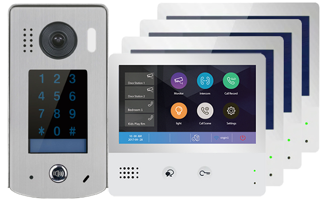 2-Easy WiFi/IP 4-Monitor Door Entry Kit Keypad Doorbell