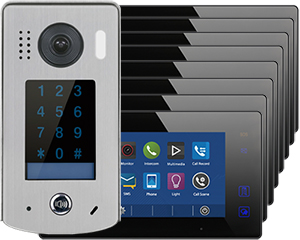 2-Easy Aura Black 8-Monitor Door Entry Kit Touchscreen Keypad Doorbell