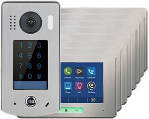 2-Easy Alecto 8-Monitor Door Entry Kit Touchscreen Keypad Doorbell