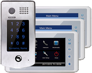 2-Easy Cronus White 3-Monitor Door Entry Kit Keypad Doorbell