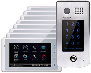 2-Easy Cronus White 8-Monitor Door Entry Kit Keypad Doorbell