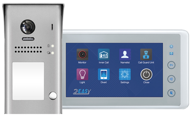 2-Easy Cronus White 1-Monitor Door Entry Kit Surface Doorbell