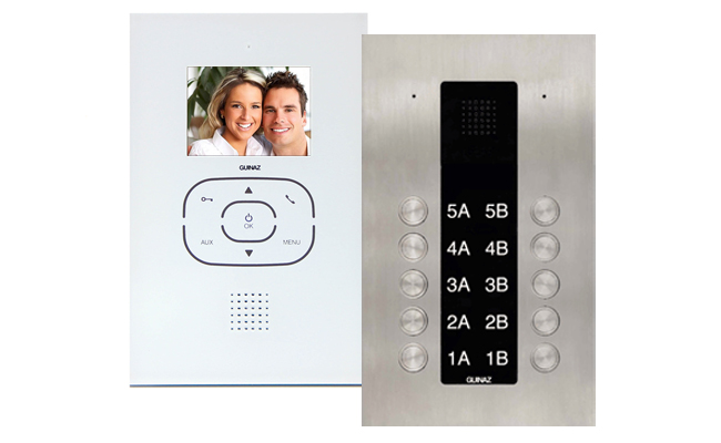 Guinaz Alea and Tactile White 10-Flat Video Door Entry System