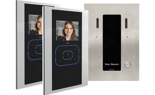 2-Monitor Kit Alea and Tactile Black Video Door Entry System