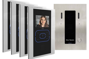 4-Monitor Kit Alea and Tactile Black Video Door Entry System