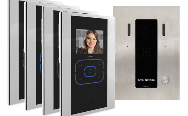 Guinaz 4-Monitor Tactile Black Video Door Entry System