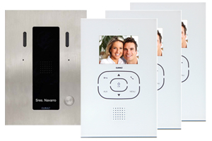 3-Monitor Door Entry Kit Alea and Tactile White Image Recording