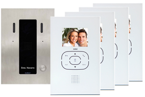 4-Monitor Kit Alea and Tactile White Video Door Entry System