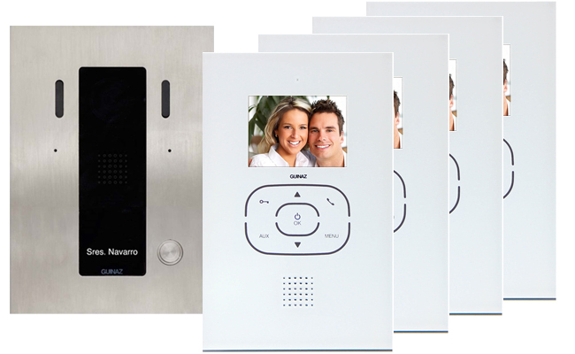 Guinaz 4-Monitor Tactile White Video Door Entry System