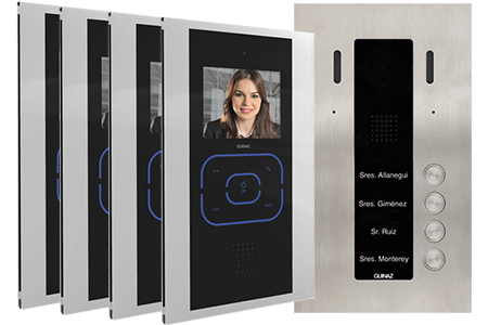4-Apartments Alea and Black Tactile Door Entry System by Guinaz