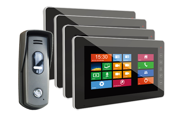 4-Monitor Door Entry Kit Sonata Black 7 inch with Surface Slim Doorbell