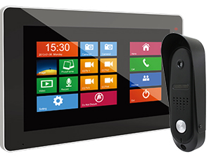 1-Monitor Door Entry Kit Sonata Black 10 inch with Surface Slim Doorbell