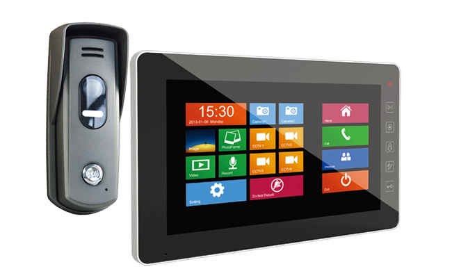 1-Monitor Door Entry Kit Sonata Black 7 inch with Surface Slim Doorbell